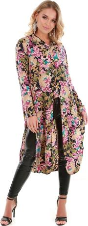 Multi Coloured Floral Collared Long Sleeve Shirt Dress