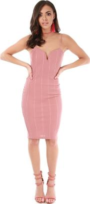 Pink Strappy Knee Length Bodycon Dress