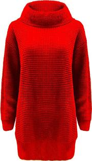 Red Chunky Knitted Oversized Jumper