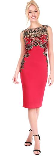 Red Lace Insert Dress