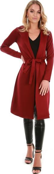 Wine Long Sleeve Midi Blazer