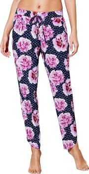 Navy Floral Tile Print Beach Trousers