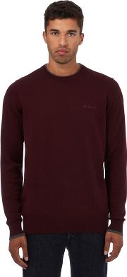 Big And Tall Dark Red Crew Neck Jumper