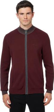 Big And Tall Dark Red Funnel Neck Sweater