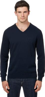 Big And Tall Navy Tipped V Neck Jumper