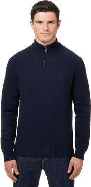 Big And Tall Navy Wool Rich Funnel Neck Sweater