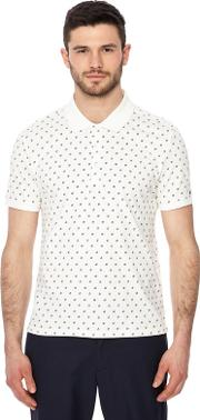 Big And Tall White Geometric Floral Print Polo Shirt