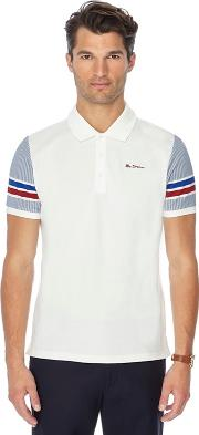 Big And Tall White Stripe Sleeve Polo Shirt