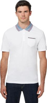 Big And Tall White Tipped Oxford Collar Polo Shirt