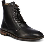 Black Leather earl Lace Up Boots