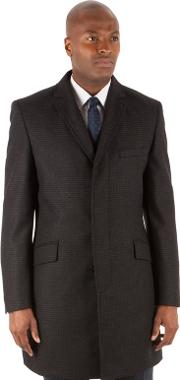 Blue Tonal Check 3 Button Kings Slim Fit Overcoat