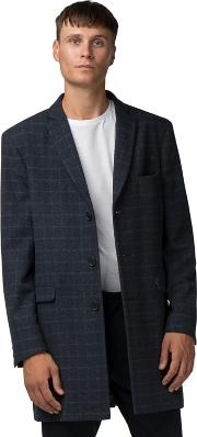Blue With White Check Melton Overcoat