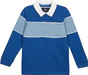 Boys Blue Colour Block Yoke Rugby Top