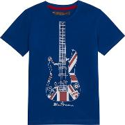 boys Blue Union Jack Guitar Print T Shirt