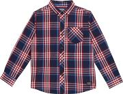 Boys Navy And Red Checked Shirt