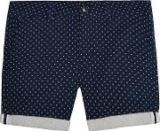 Boys Navy Dotted Twill Shorts