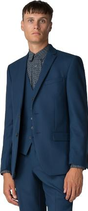 Bright Blue Texture Weave Tailored Fit Jacket