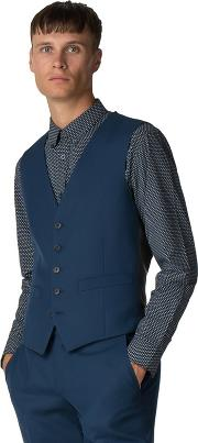 Bright Blue Texture Weave Waistcoat