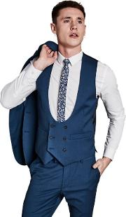 Bright Blue Textured Double Breasted Waistcoat