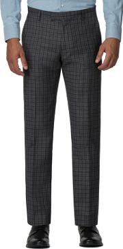 Charcoal Blue Gingham Slim Fit Trouser