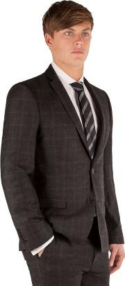 Charcoal Flannel Check 2 Button Front Super Slim Fit Camden Suit Jacket