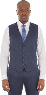 Deep Blue Micro Wool Blend Tailored Fit Waistcoat