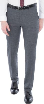 Grey Structure Micro Check Slim Trousers
