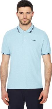 Light Blue Embroidered Logo Polo Shirt
