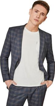 Midnight Blue With Tan Overcheck Skinny Fit Jacket