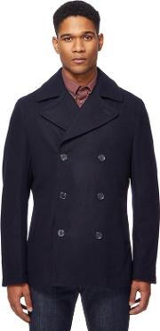 Navy Double Breasted Wool Blend Peacoat
