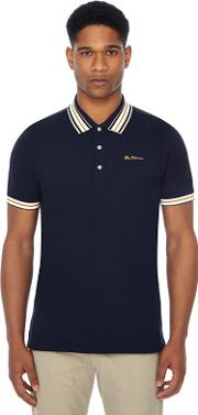 Navy Multi Stripe Tipped Polo Shirt