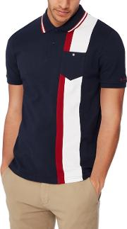 Navy Stripe Panel Cotton Polo Shirt