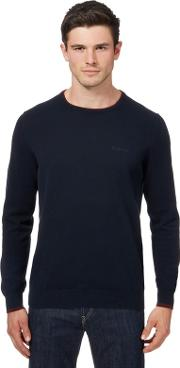 Navy Tipped Crew Neck Jumper