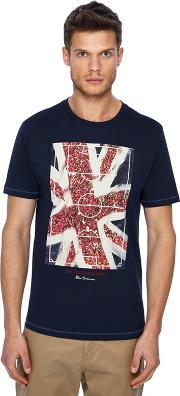 Navy union Jack Football Pitch Print T Shirt