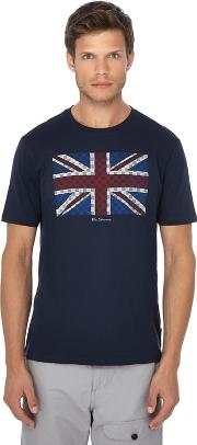 Navy Union Jack Print T Shirt