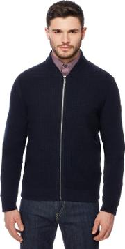 Navy Zip Though Knitted Cardigan