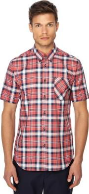 Red Checked Button Down Collar Short Sleeve Regular Fit Shirt