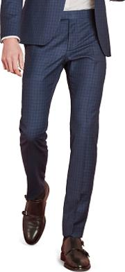 Sapphire Blue Check Skinny Fit Trousers