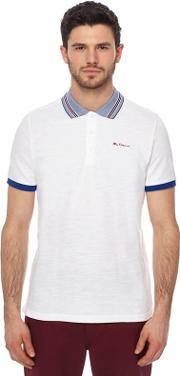 White Birdseye Collar Polo Shirt