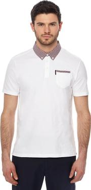 White Checked Trim Polo Shirt