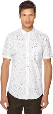 White Printed Button Down Collar Short Sleeve Regular Fit Shirt