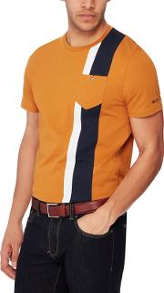 Yellow Stripe Panel Cotton T Shirt