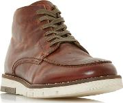 Tan cashin Apron Stitch Contrast Wedge Lace Up Boots