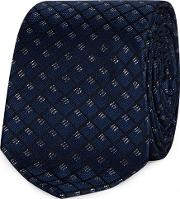 Navy Diamond Embroidered Tie