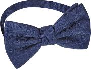 Navy Embroidered Ready Tied Bow Tie
