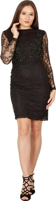 Black Long Sleeves Embroidered Bust Lace Dress