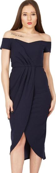 Navy Pleated Wrap Off Shoulder Dress