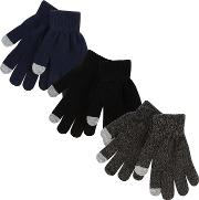 Bluezoo 3 Pack Boys Touch Screen Gloves