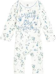 Bluezoo Baby Girls Cream Floral Print pretty Like Mummy Romper Suit
