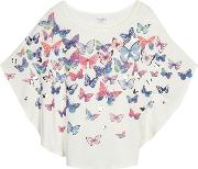 Bluezoo Girls Cream Butterfly Print Cape Top